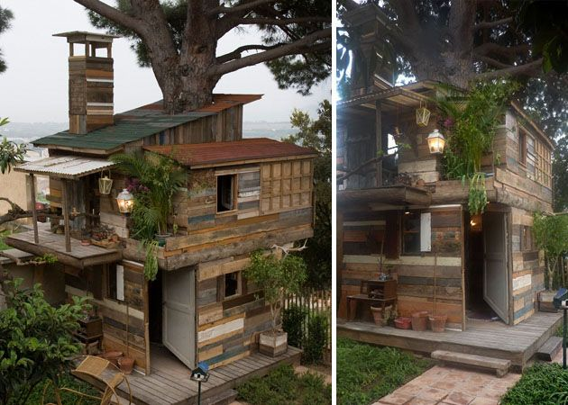 House built from trash 8 alternative home building for Houses built in trees