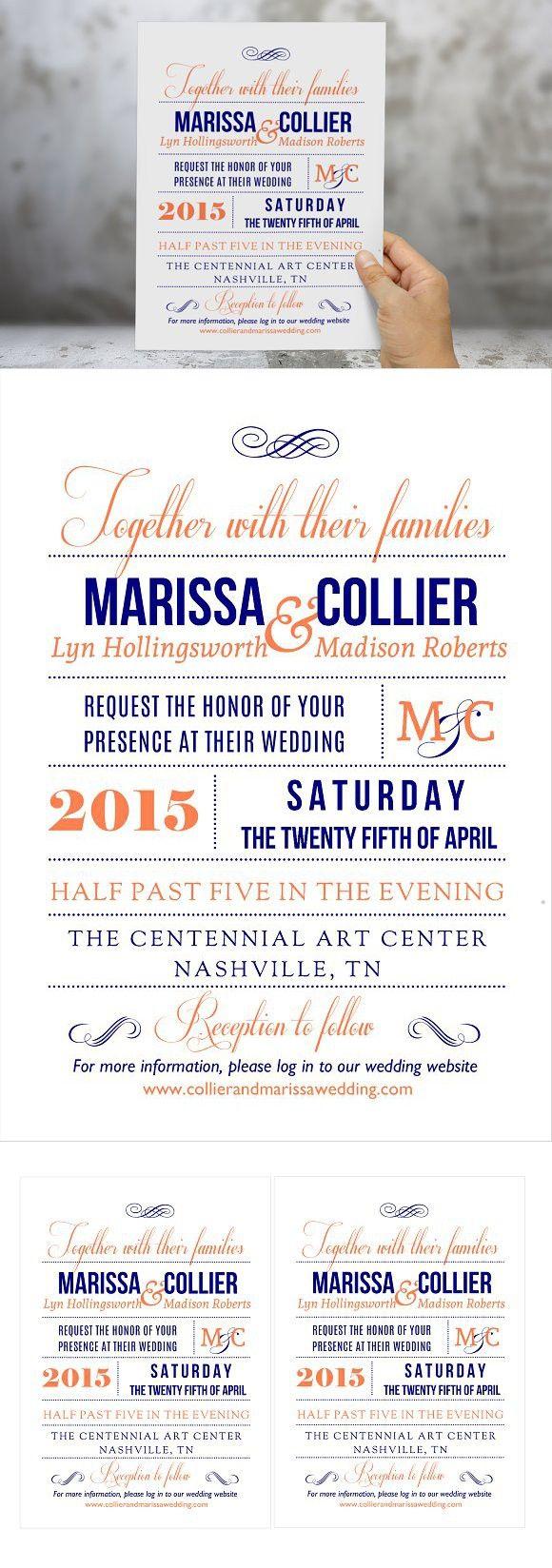 Coral navy Word wedding invitation. Wedding Fonts