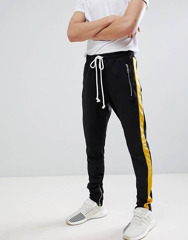 5614d714e5cf48 Criminal Damage Skinny Joggers In Black With Yellow Side Stripe ...