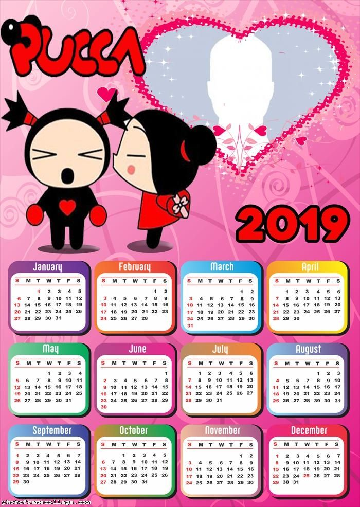 Pucca Calendar 2019 Frame Photo Montage Free Online Frases