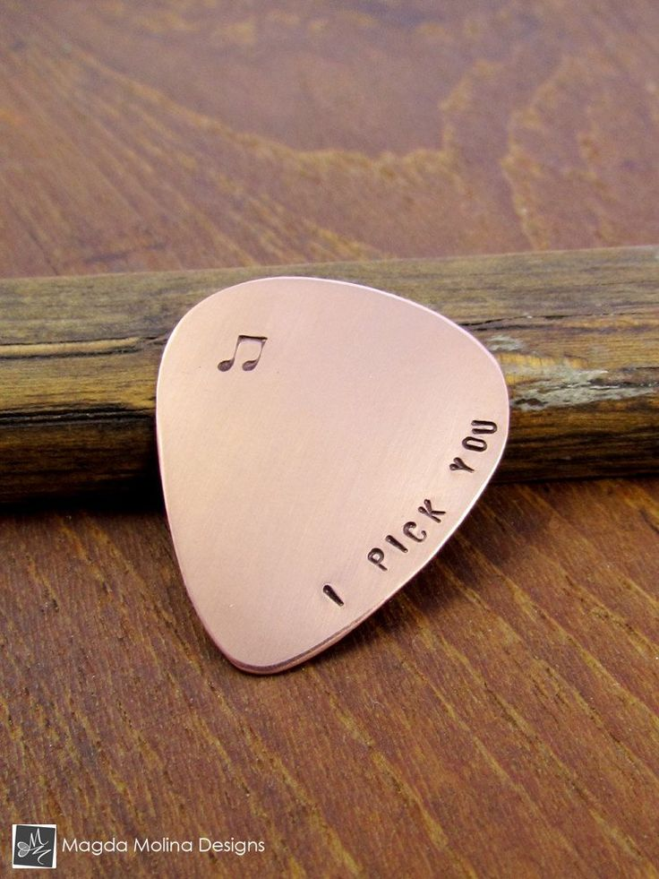 """Copper Guitar Pick Hand Stamped With """"I PICK YOU"""""""
