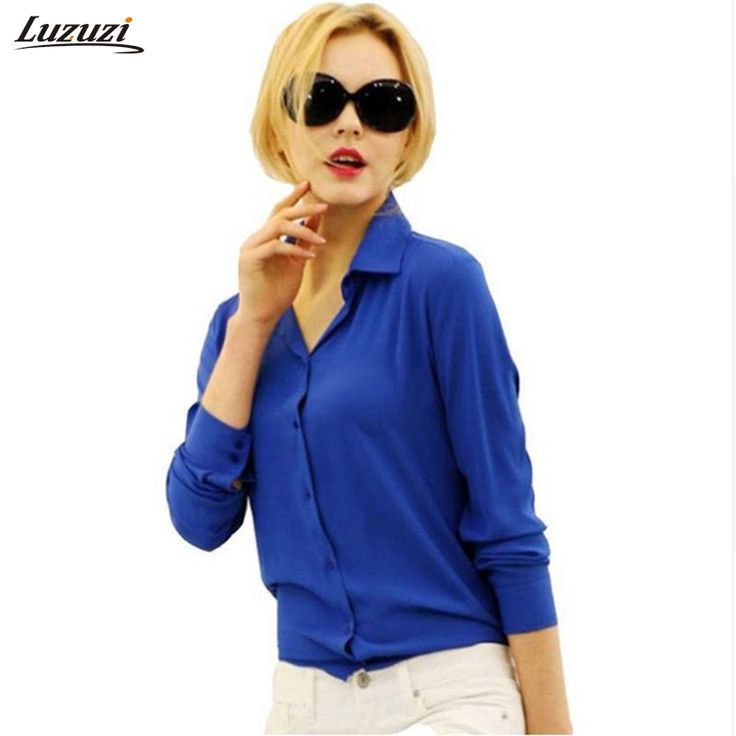 Price-3$     1PC Women Chiffon Blouse Long Sleeve Shirt Women Tops Office Lady Blusas Femininas Camisas Mujer Z231