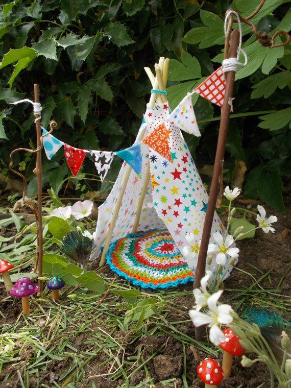 Miniature Garden Ideas 12 marvelous miniature garden decorating ideas Star Teepee Set Fairy Garden Miniature Garden Fairy Banner Fairy Rug Fae Garden