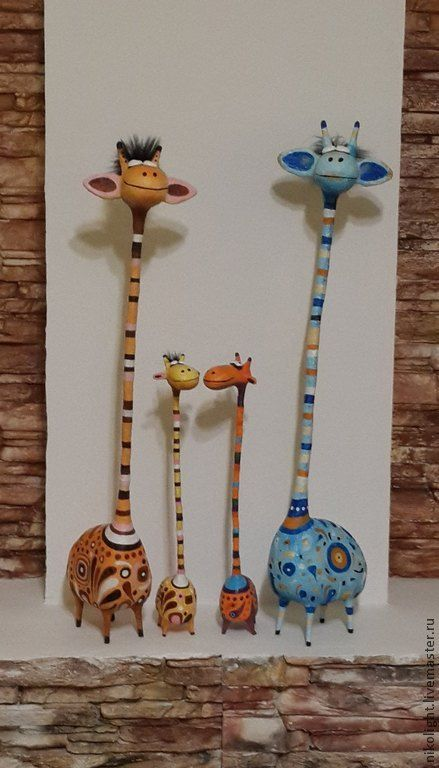 Купить Жираф большой - оранжевый, скульптура, статуэтка, жираф, Папье-маше, жирафик, жираф папье-маше