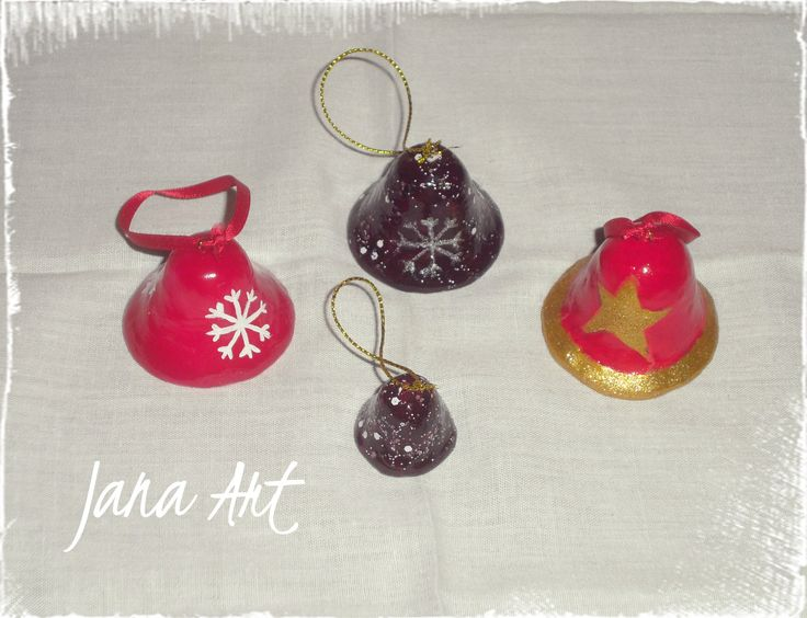 Christmas bells, totally handmade from cold porcelain. handpainted. Check my facebook page! http://www.facebook.com/artelien