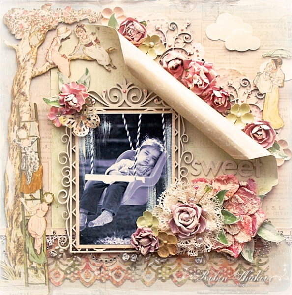 Prima's Romantique Scrapbook Layout.  I'm a big lover of many layers in scrapbooking, so this page appeals to me bigly.
