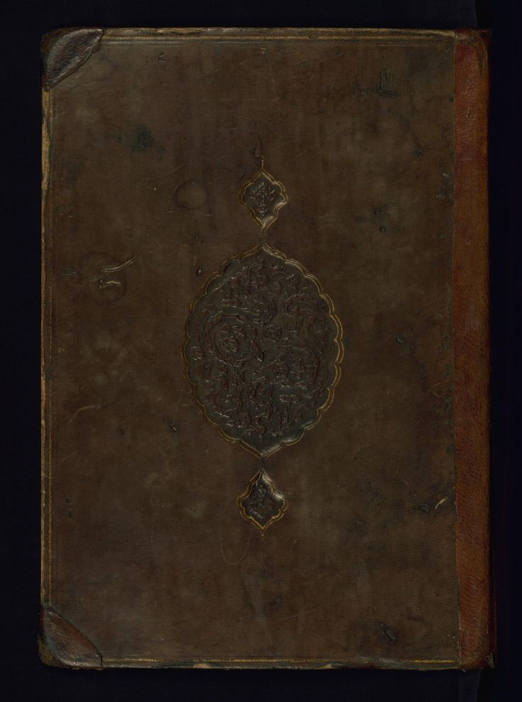 This non-original binding from Walters mansucript W.608 is composed of brown leather with a blind-stamped oval central medallion and pendants. The binding has no flap.