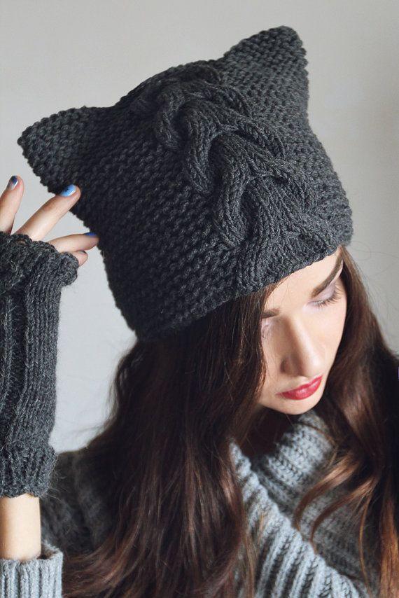 Hand knitted Dark Gray Beanie Hat Cap. Pattern & by NatalieKnit