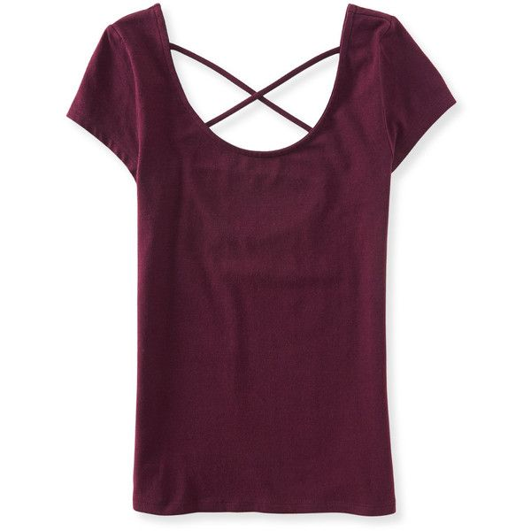 Aeropostale Lattice-Back Bodycon Tee ($11) ❤ liked on Polyvore featuring tops, t-shirts, volcano red, bodycon top, red top, slim tee, slim fit tee and purple top