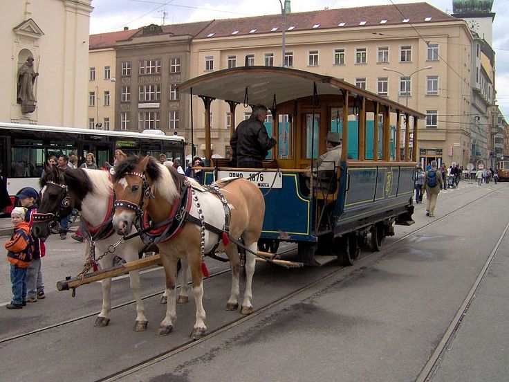 "Historical horse-drawn tram at the festival called ""Brno - City In the Centre of Europe"". User:Harold17 - Own work Horse tram in Brno (the oldest conserved tram in Czech Republic, made in 1876)"