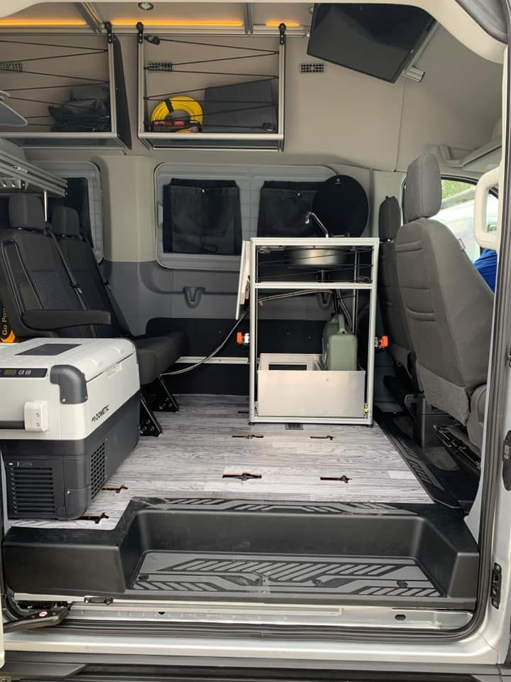 A Durable Camper Van With Everything You Need Vandoit Built On The Ford Transit 350 Xlt Ford Transit Camper Ford Transit Shower Stall Kits