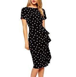 Women Frill Asymmetrical Polka Dot Work Dress Plus Size 140774
