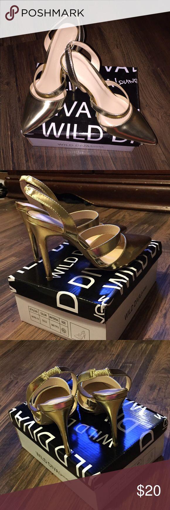 "Gold stilettos by Wild Diva NIB Gold heels by Wild Diva. Heel strap has some stretch. 4"" heel. Cushioned sole. Wild Diva Shoes"