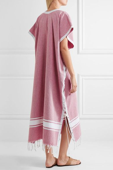 Koza - Riri Lace-up Fringe-trimmed Cotton-chambray Kaftan - Red - x small