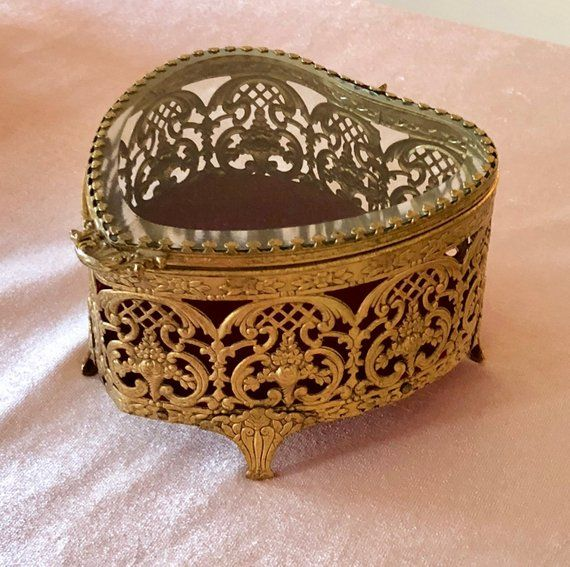 Vintage Gilt Filigree Jewelry Casket Box Heart