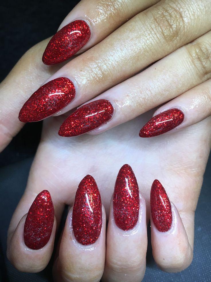 Calgel nails, red nails, glitter nails, Christmas nails, nail art, nail design, stiletto