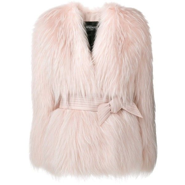 Balmain belted fur jacket ($10,720) ❤ liked on Polyvore featuring outerwear, jackets, belted jacket, long sleeve jacket, balmain, fur jacket and pink jacket