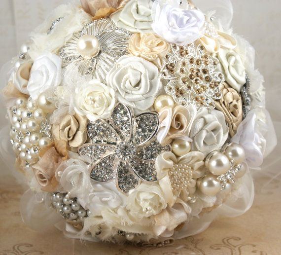Brooch Bouquet VintageStyle Wedding Jeweled  Bouquet by SolBijou, $350.00