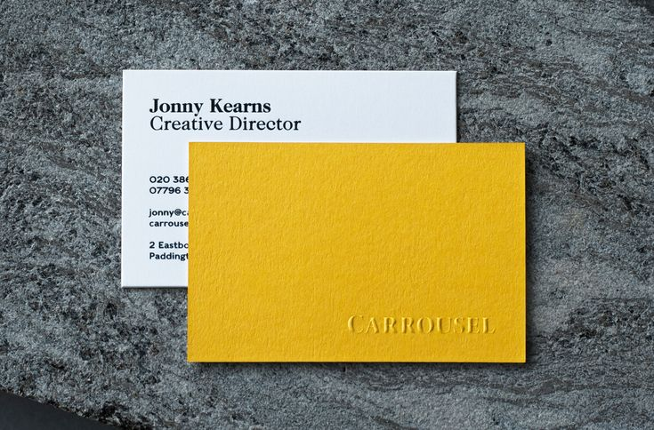 Embossed business cards printed for London based graphic design agency - Carrousel