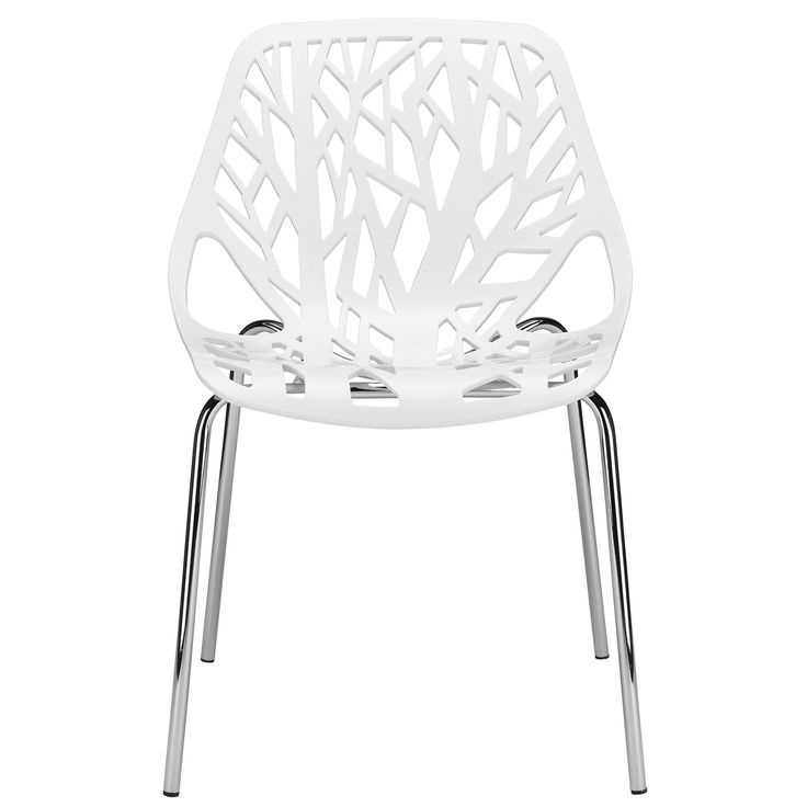 DETAILS Accent your room with a subtler take on the ghost chair trend. This streamlined piece features a sturdy polycarbonate design with a slightly arched back