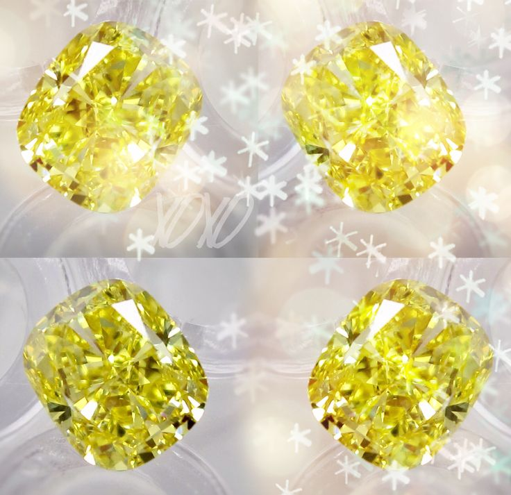 Cushion cut yellow diamond party