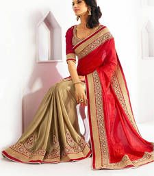 Buy red embroidered jacquard saree with blouse half-saree online