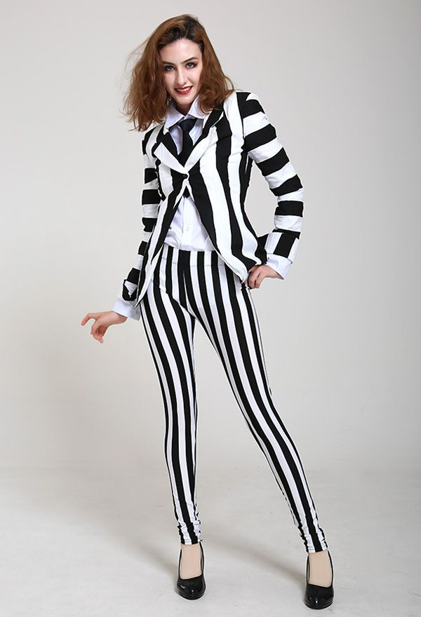 Female Black And White Vertical Stripes Jacket Suit Costume With