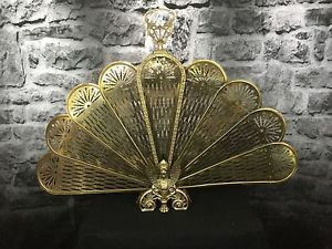 Vintage Brass Fireplace Fan Screen Winged Lion Peacock Style