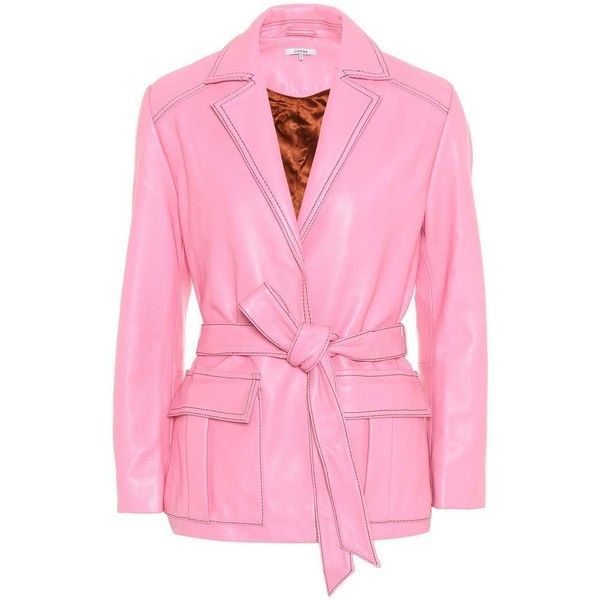 Ganni Passion Leather Jacket (885 AUD) ❤ liked on Polyvore featuring outerwear, jackets, pink, retro jackets, ganni, 100 leather jacket, leather jackets and belted jacket