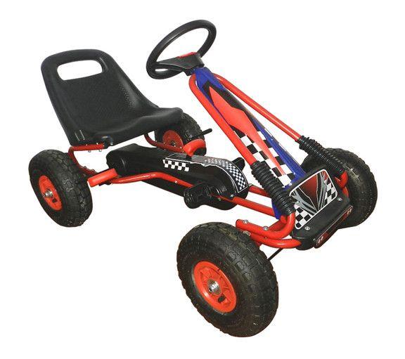Vroom Rider VRPK01-BLU Racing Pedal Go-Kart w/ Pneumatic Tire - Blue