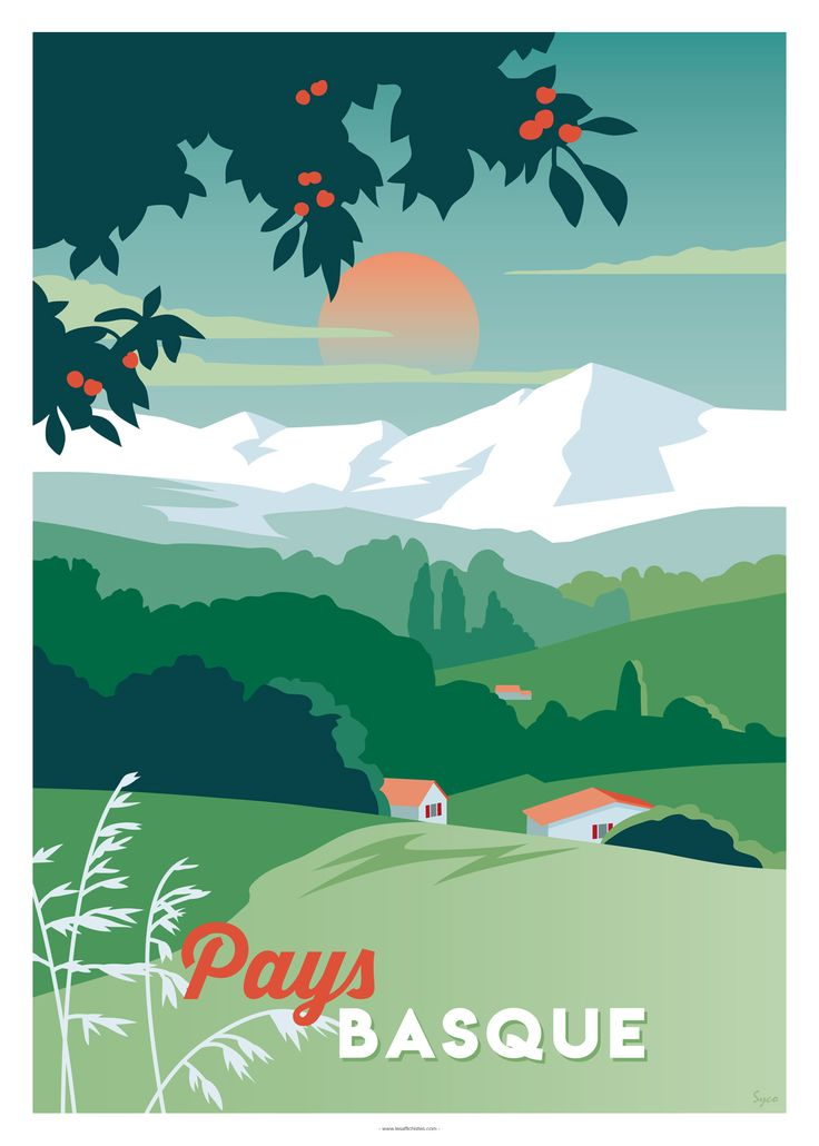 Affiche Le Pays Basque Affiches D Art Vintage Affiches De Voyage Retro Pays Basque