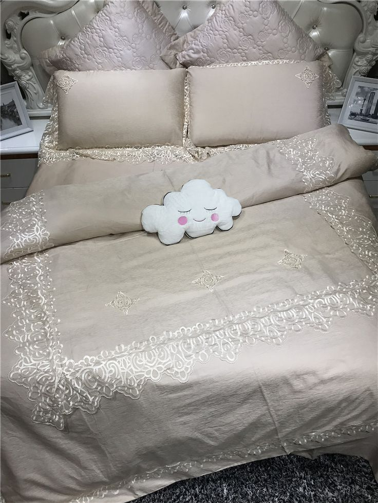 New cotton linen bedding set Embroidery bed cover 4pcs bedsheet beige pink duvet cover set queen king size ropa de cama