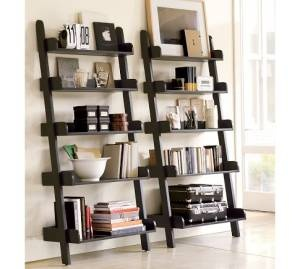 Pottery Barn Shelves...This is nice display idea for how to decorate bookshelves :)