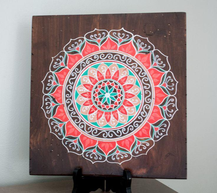 Mandala Art- Mandala on Distressed Wood- Mandala Wall Hanging- Mandala Decor- Red Mandala by MandalasbyAriell on Etsy