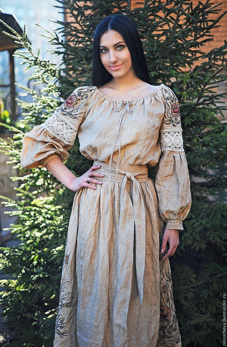 """Купить Эксклюзивное вышитое платье из натурального льна """"Дымчатая роза"""" - бежевый, однотонный, вышитое платье"""