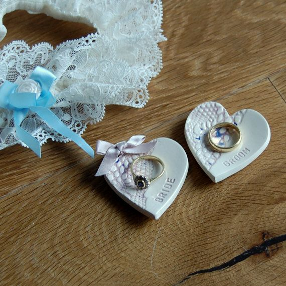 Bride and groom wedding ring plates. Can be personalised with names and dates.