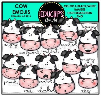 This is a collection of cow emojis showing a variety of 11 different emotions…