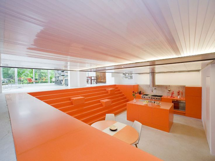 Home Interior Kitchen Among Orange Island Also Orange Drawers Near Small Breakfast Space White Interior in Bright Color Theme
