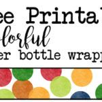 Colorful water bottle wrappers free printable. Print these rainbow confetti polka dot bottle wrappers for your colorful themed birthday party, baby shower. Great addition to your decor.