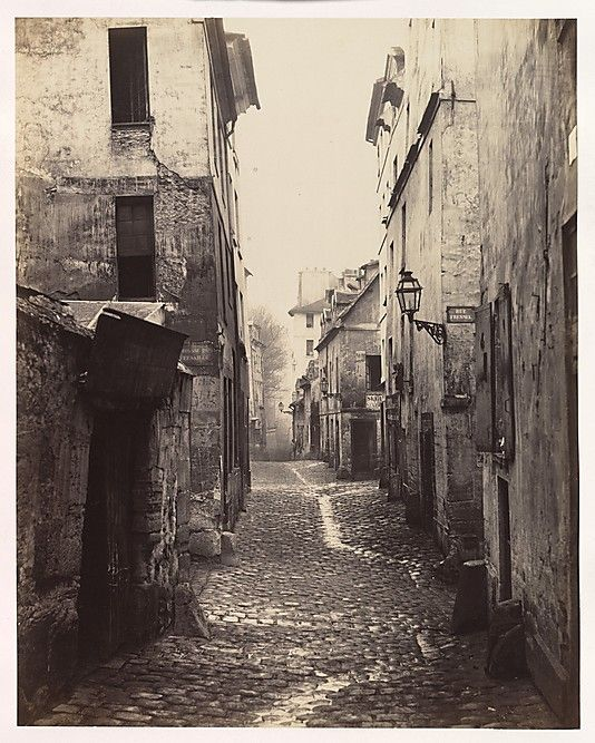 "Charles Marville, (French, 1813–1879). Rue Traversine (from the Rue d'Arras), ca.1868. The Metropolitan Museum of Art, New York. Gift of Howard Stein, 2010. (2010.513.2) | This photograph is featured in ""Charles Marville: Photographer of Paris,"" on view through May 4, 2014. #paris"