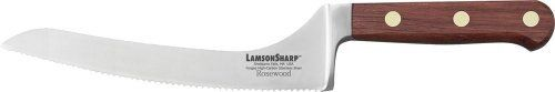 LamsonSharp 7-Inch Forged Offset Bread, serrated Knife by LamsonSharp. $78.99. Made in the USA. One-piece forged, full tang blades. Hardened and tempered high-carbon stainless steel. Comes with free knife blade protector KnifeSafe. Sharp for Life?Guarantee. The LamsonSharp Rosewood Forged Cutlery Series features a one-piece, forged, full tang blade made of hardened and tempered high-carbon stainless steel from Soligen, Germany.  The Oiled Rosewood hadles are naturally hard an...