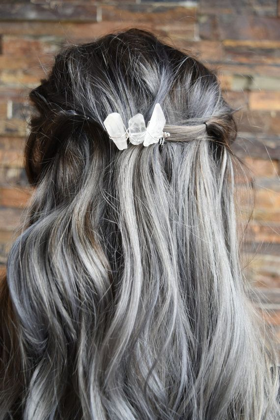 Clear Quartz Crystal Hair Comb Silver Plated by MountainMysticGems