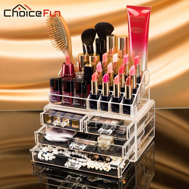 29€CHOICEFUN organizador de Maquillaje caja de almacenamiento de acrílico maquillaje organizador del almacenaje del organizador cosmético del maquillaje cajones SF-1155