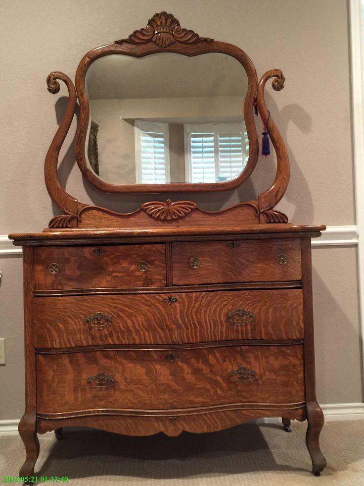 Antique Tiger Oak Dresser And Mirror In 2019 Quartersawn