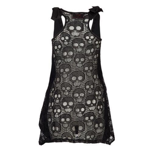 Kruis met schedel print lang shirt zwart