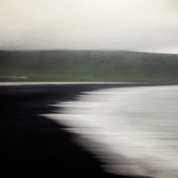 Flux - Black Sand Beach in Vik Iceland, Modern Abstract Landscape Photography, Water, Ocean, Sea, Waves, Green