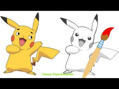 How to Draw Pokemon Real Pikachu Song Animation Video Kids Funny Toyo Surprise - YouTube