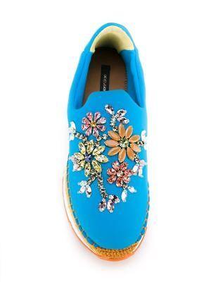NEW-1387-Dolce-amp-Gabbana-Shoes-Espadrilles-Neoprene-Blue-Crystals-EU37-US7