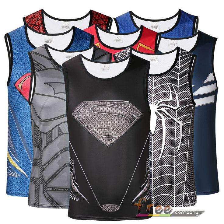 Mens Superhero Vest Sports Jersey Base Layer Muscle Tank Tops Tight A-Shirt Tee #UnbrandedGeneric #BaseLayers