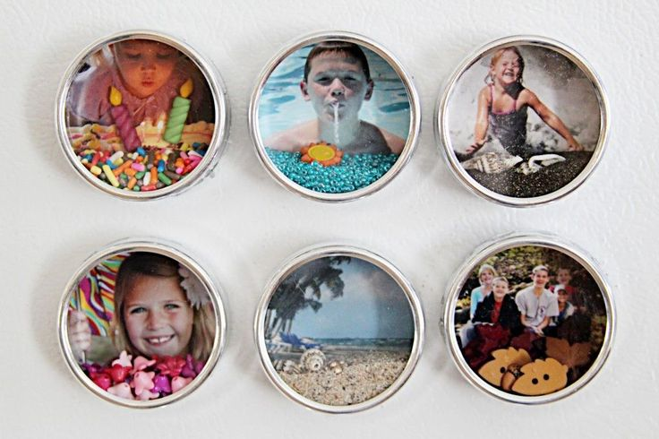 Fridge magnets.  FUN!!  Cat food cans, mackerel rectangular cans, mini sausage cans, breath mint tins, use imagination and look for cans while you shop!  I love this idea!  Have FUN!!!